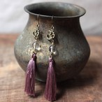 ピアス -quartz × purple tassel-