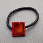 飛騨春慶塗 ヘアゴム 正方形 紅×箔 (H011)