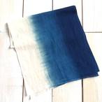 藍染Cotton & Hemp 手拭い【 グラデーション/生成り残し 】