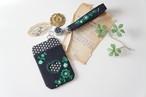 【バレンタインギフト】刺繍のパスケース&ストラップセット・黒×グリーン