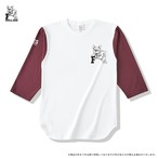 Fブルドッグ ベースボールTシャツ ナチュラルxバーガンディー