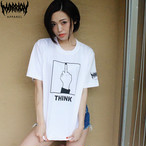 【Cotton100%】「THINK」Tee (White×Black)