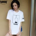 【Cotton100%】「THINK」Tee (White×Black)