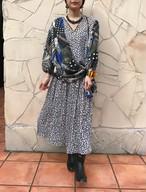 Diane freis monotone × blue leopard dress ( ダイアン フレイス モノトーン × ブルー レオパード ワンピース )