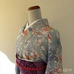 正絹 水色に松竹梅の小紋 袷の着物