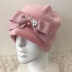 お花と縁取りリボンのケア帽子 ベロア薄ピンク