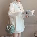 【tops】白効かせボタン飾り大好評セーター
