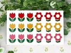 再販! レトロフラワーシール ステッカー 耐水・耐熱・屋外対応 花柄