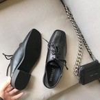 2wayステッチデザイン革靴 かかと踏める オックスフォード おじ靴 レトロ マニッシュ スクエアトゥ レースアップ ローヒール 合皮 革 黒 ブラック 春秋 カジュアル 韓国