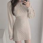 knit cut dress 2color