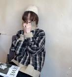 2色 セーター トップス チェック ハイネック 長袖 ゆったり レトロ カジュアル 秋冬 韓国 オルチャン ファッション