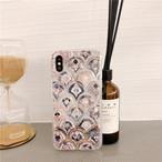 アンティーク調 人魚姫のウロコ大理石風シェルデザイン(SPCa0210)◆スマホケース/iPhoneケース