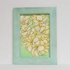Wood print Art 【Plimeria ミントグリーンフレーム付き】