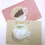 台湾ポストカード「抹茶猫と猫ドリップ」2枚組