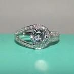 モアサナイト ダイヤモンド 0.6カラット 18k ホワイトゴールド リング 婚約指輪