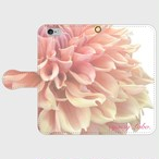 【iPhone】Pale love of Dahlia 手帳型ケース