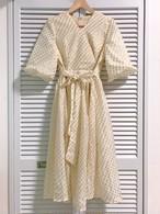 再入荷★ゴールド模様のバルーン袖カシュクール風ワンピース