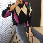 アーガイルニット  ニット セーター 韓国ファッション