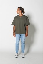 edit clothing Seersucker stretch slit neck tee(シアサッカーストレッチスリットネックT/カーキ)