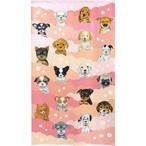 【洋柄のれん】18匹の犬ピンクと花85x150cm【暖簾 91199】