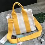 【小物】シンプル切り替え帆布マグネットバッグ
