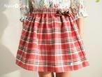 リボンがかわいい♪フランネルのギャザースカート(レッドチェック・USAコットン)