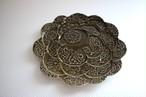 望月万里|軟質陶器 オリーブ  6寸レリーフ皿 花図鑑