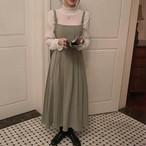 【送料無料】 大人ガーリースタイル♡ プリーツ ハイウエスト ロング サロペット ワンピース ジャンパースカート
