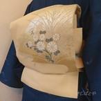 正絹紗 クリーム色に白菊のなごや 夏帯