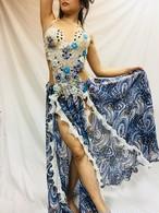 エジプト製 ベリーダンス 衣装 コスチューム ブルー&ホワイト