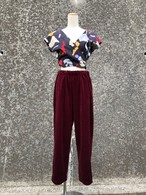wine red velor pants