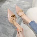 【shoes】リベット飾りPUスタイリッシュスリッパ 22582673