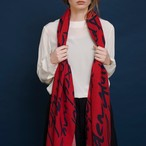 Merino Wool 'Crouch End' red 細めのロングストール
