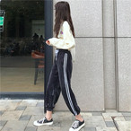 【bottoms】韓国系合わせやすいハイウエスト細見えアンクル丈ストライプ柄カジュアルパンツ