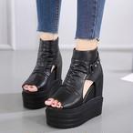 サマーブーツ ブーツサンダル 厚底 ウェッジソール オープントゥ ブーサン レディース 靴 シューズ 黒 ブラック