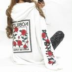 袖ローズ&ロゴ 背中ワッペンロゴ BIGパーカー オーバサイズ ホワイト