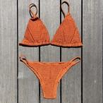 Bikini♡スモックドトライアングルビキニ オレンジ
