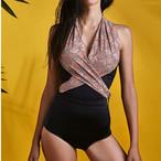 【タイ人気ブランド】Coralist Swimwear スカーフ付きワンピース Nara blossom & Metalic