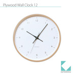 KATOMOKU plywood wall clock 12 km-80N ナチュラル