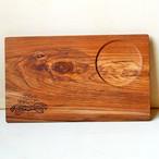 Wood Plate M [Plumeria One Point / wood:チーク] (オリーブオイル仕上げ) 【WP-PLU-O-M】