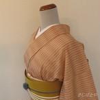 正絹 ベージュに縞の小紋 単衣