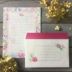 レターセット【便箋10枚・封筒5枚】ピンクガーデン