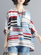 【tops】Round neck quarter sleeve tunic