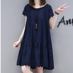 【dress】Aラインカジュアル切り替えし無地シンプル簡約着痩せワンピース