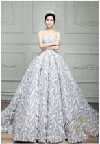 ladies wedding dress white long A-line happy ceremony 海外 ウエディングドレス ホワイト Aライン フェザー 柄