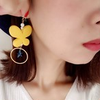 【ca-co☆accessories】 バタフライ片耳ピアス イエロー(14kgf)