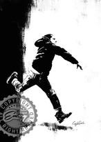 Craig Garcia 作品名:Boy throwing  A2キャンバスポスターフレームセット【商品コード: cghidw03】
