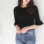 フレア 袖コンシャス ニット クルーネック 全3色 韓国ファッション オフィス デイリー 春秋冬 タイト きれいめ