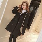 コート ミディアム丈 ダブルブレスト ウール Pコート ジャケット 大きいサイズ レディース アウター