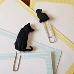 (128) キャットペーパークリップ 6コセット 黒猫モチーフ 文具 【レターパックライト可】